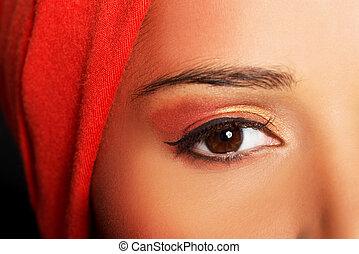 Attractive woman's eye. Woman in turban. Closeup.
