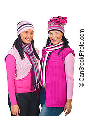 Attractive women in knitted pink clothes