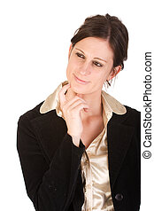 Attractive young adult business woman in thought