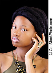 Attractive Young African American Woman Portrait Head Scarf