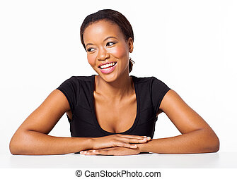 young african american woman sitting on white background