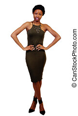 Attractive Young African American Woman Standing Green Dress