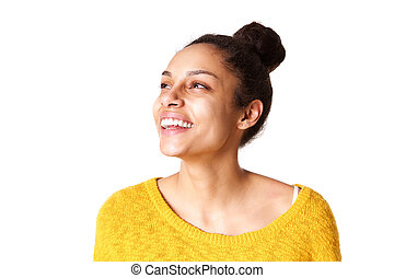 Attractive young african woman on white background