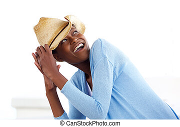 Attractive young african woman with a cowboy hat