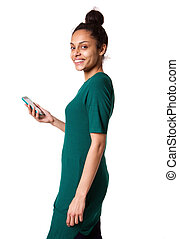 Attractive young african woman with mobile phone