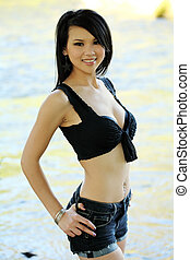 Asian American Woman Outdoors Shorts and Top