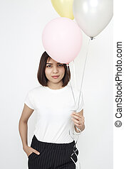 asian woman with air balloons
