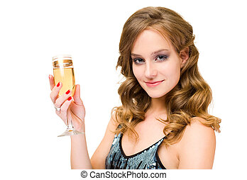 Attractive young blond woman with glass of champagne.