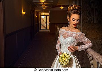 Attractive young blonde bride