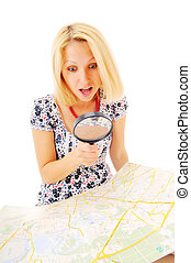 Attractive young blonde found something on the map