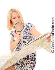 Attractive young blonde studying map