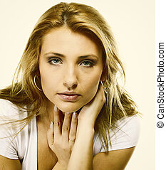 Attractive young blonde woman portrait