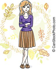 Attractive young blonde woman standing on background of autumn landscape and wearing stylish casual clothes. Vector human illustration.
