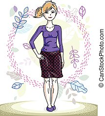 Attractive young blonde woman standing on background of spring landscape and wearing stylish casual clothes. Vector human illustration.