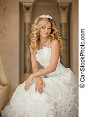 Attractive young bride woman in wedding dress. Beautiful ...
