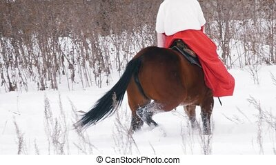 Attractive young brunette in a red dress walking on a horse...