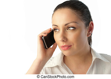Attractive young businesswoman talking phone