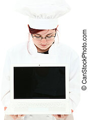 Attractive Young Chef in Uniform with Laptop Computer