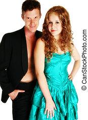 Attractive Young Couple - Attractive young couple over white...