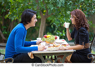 Attractive young couple on date