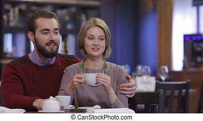 Attractive young couple - Celebrating a Valentine's Day at a...