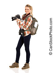 young female tourist on white background