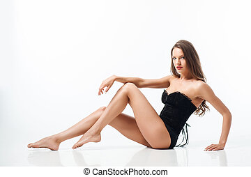 Attractive young healthy woman is seducing everybody
