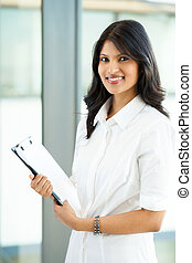attractive young indian office worker