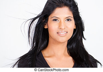 attractive young indian woman on white