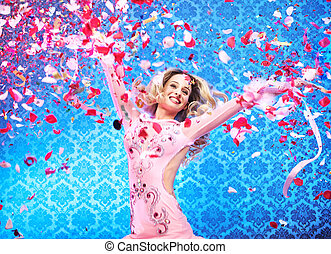 Attractive young lady celebrating a success