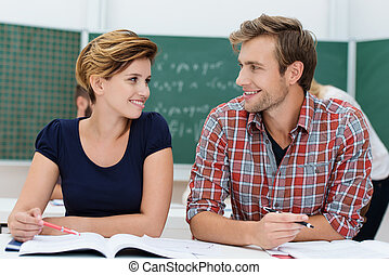 Attractive young male and female students