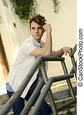 Attractive young man in urban background