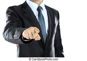 attractive young man pointing a finger towards you