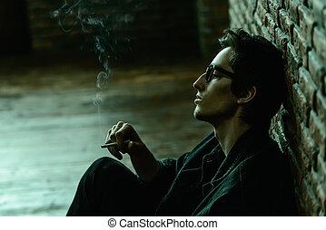 smoking a cigarette