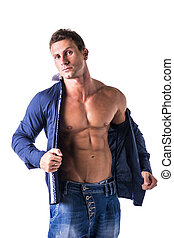 Attractive young man with naked muscular torso under shirt