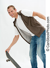 attractive young man with skateboard