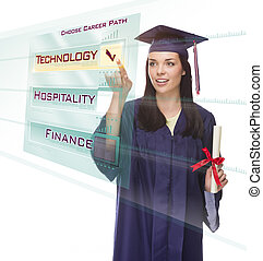 Attractive Young Mixed Race Female Graduate in Cap and Gown Choosing Technology Career Path Button on Futuristic Translucent Panel.