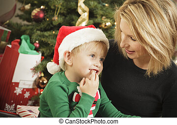 Young Mother and Baby Son Christmas Portrait