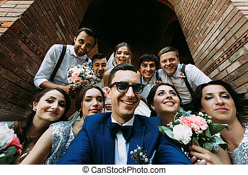 Attractive young people in the wedding day