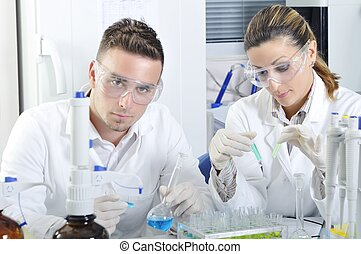 Attractive young PhD students scientists