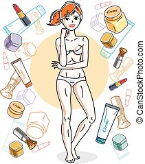 Attractive young red-haired woman in underwear standing on colorful background with cosmetic accessories. Vector human illustration.