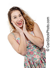 attractive young smiling woman isolated on white background