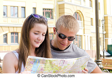 Attractive young tourist couple