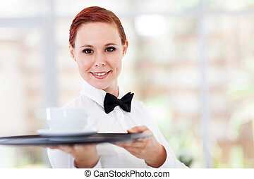 attractive young waitress serving
