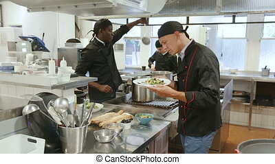 young waitress taking prepared dishes from chef in kitchen of modern restaurant