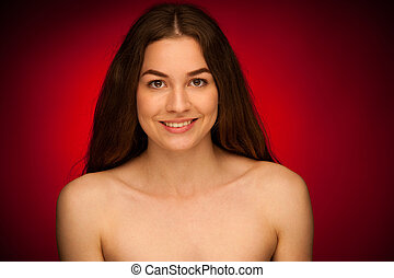 attractive young woman - beauty portrait of a cute young brunette
