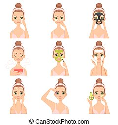 Attractive young woman caring for her face and skin with cosmetics set, beauty routine steps, facial treatment procedures vector Illustration