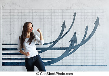 Financial growth concept - Attractive young woman...