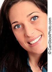 Attractive young woman closeup portrait