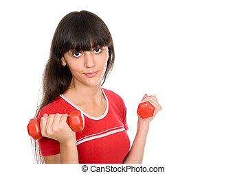 Attractive young woman doing exercises with dumbbells.
